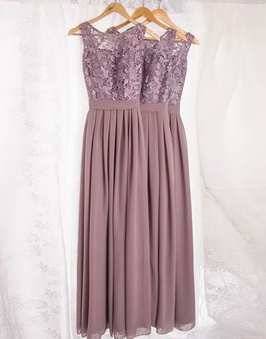 Dusty purple lace chiffon long prom dresses, bridesmaid dresses,PD22008
