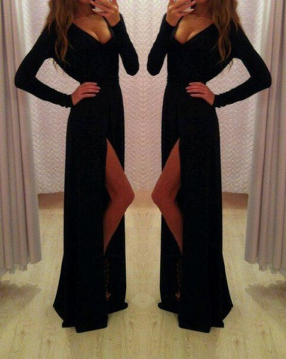 black Prom Dresses, long sleeves prom dress, side slit prom Dress,long prom dress,evening dress,BD1987 - dream dress