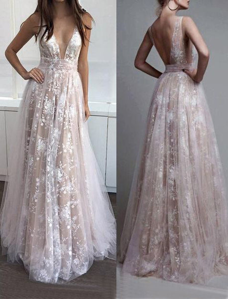 lace prom dress, long prom dress, v-neck prom dress, 2017 evening dress, charming prom dress, BD469 - dream dress