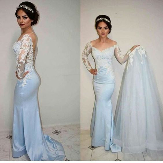long prom dress,lace Prom Dress,mermaid prom dress,long sleeves prom dress,charming evening dress,BD44547