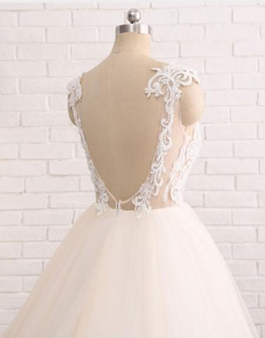 round neck lace tulle long prom dresses, wedding dresses,PD21011