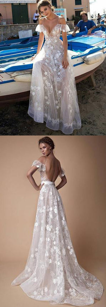 White v neck lace off shoulder long prom dress, white evening dress,PD2031