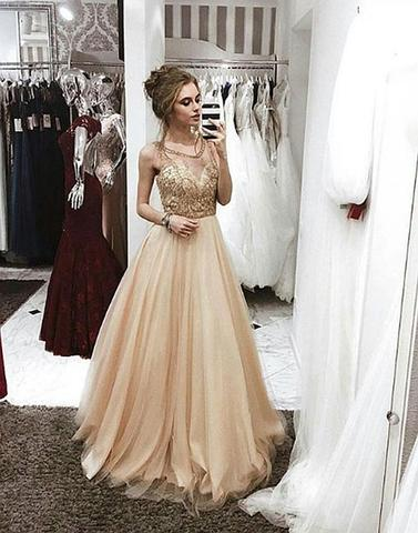 round neck beaded long prom dress, cheap evening dresses,PD12009