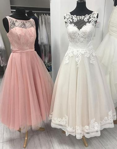 Cute tulle lace tea length prom dress, lace evening dress,PD2060