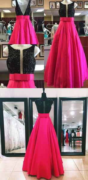 A-line long beaded prom dress, hot pink evening gown,BD460132