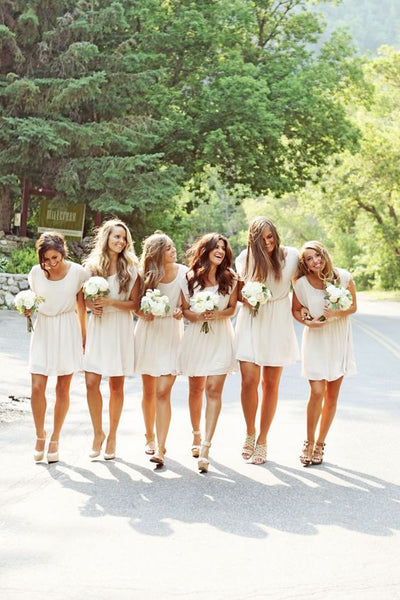 white bridesmaid dress,short bridesmaid dress,Cheap bridesmaid dress,chiffon bridesmaid dress,BD1377 - dream dress