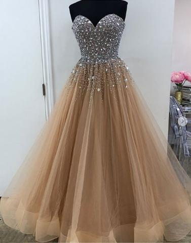 tulle beaded long prom dress, evening dress