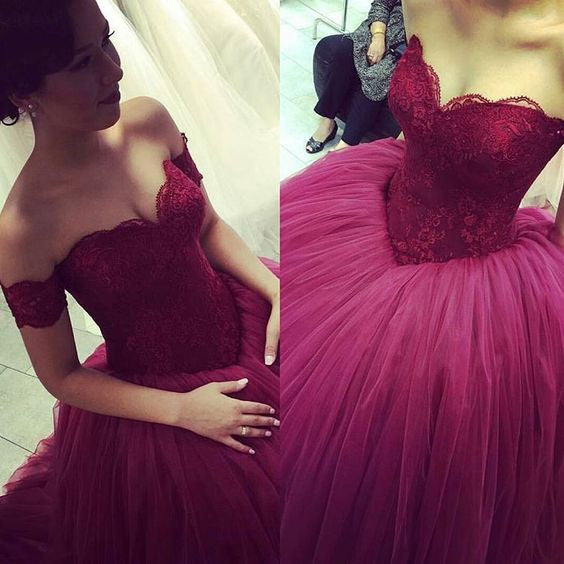 off shoulder prom dress,burgundy Prom Dress,A-line prom dress,gorgeous prom dress,ball gown,BD1351 - dream dress