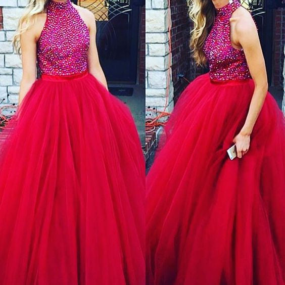 red prom dress,long prom dress,beaded prom dress,A-line prom dress,2017 evening gown,BD4597 - dream dress