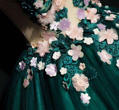 Green round neck lace long prom dresses, green evening dresses,PD180204