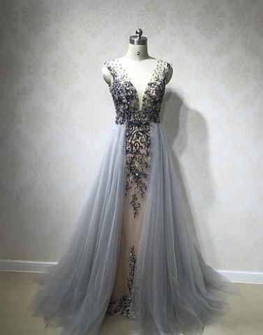 Unique v neck gray tulle long prom dress, formal dress,PD2058