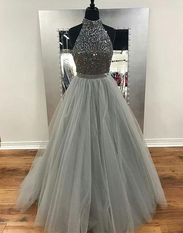 Gray round neck tulle long prom dresses, gray evening dresses,PD24001