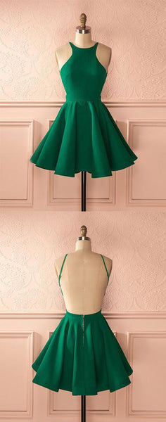Cute green backless short prom dress, homecoming dress,PD2069