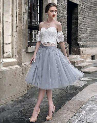ce0eac0f2ae White lace tulle two pieces short prom dress