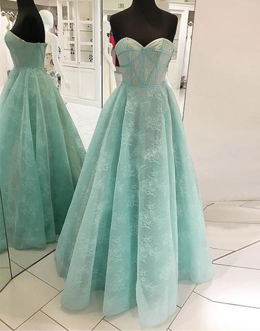 Mint green long prom dresses, sweetheart neck evening dresses,PD04008