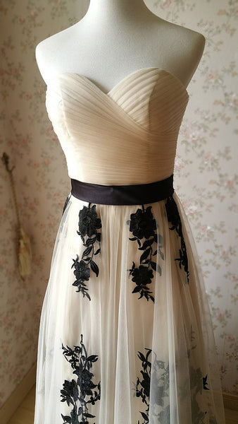 long prom dress,tulle Prom Dress,lace applique evening gown,A-line prom gown,sweetheart prom dress,BD1009 - dream dress