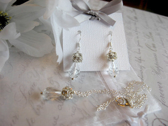 Swarovski Clear Crystal Teardrop and Rhinestone Pendant Necklace and Earring Set - Bride or Bridesmaid Jewelry Set SR007 - dream dress
