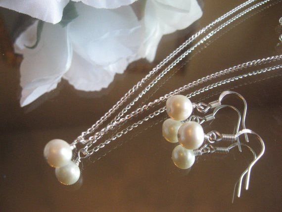 White Akoya Cultured Pearl Silver Chain Necklace and Earring Set - Bride or Bridesmaidl Pearl Jewelry Set/Wedding Jewelry SR002