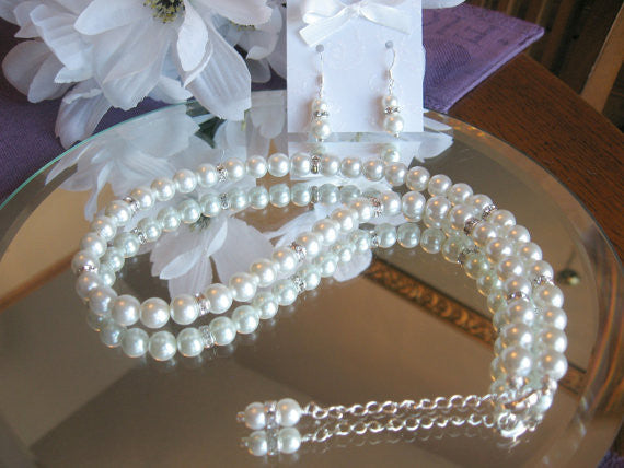 Swarovski Rhinestone and Large Pearl Bridal Necklace and Earring Set -Brides or Bridesmaid Jewelry Set SR001