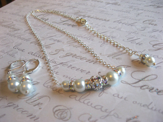 Wedding Necklace and Earring Set - Swarovski Rhinestone and Pearl Bride or Bridesmaid Necklace and Earring Set SR008