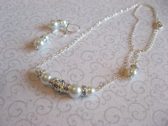 Wedding Necklace and Earring Set - Swarovski Rhinestone and Pearl Bride or Bridesmaid Necklace and Earring Set SR008 - dream dress