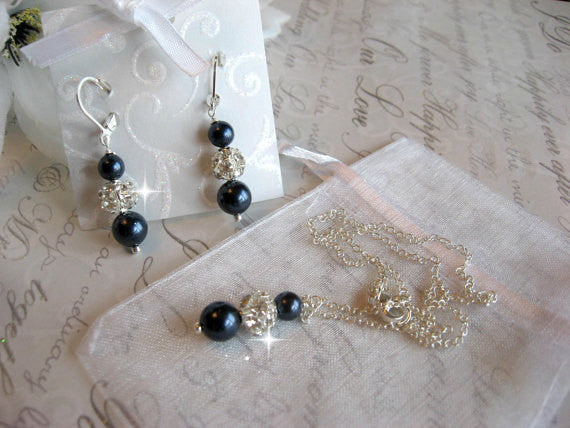 Personalized Bridesmaid Jewelry Set - Swarovski Night Navy Blue Pearl and Rhinestone Necklace and Earring Set - Wedding Jewelry SR003