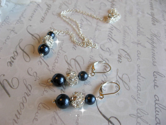 Personalized Bridesmaid Jewelry Set - Swarovski Night Navy Blue Pearl and Rhinestone Necklace and Earring Set - Wedding Jewelry SR003 - dream dress