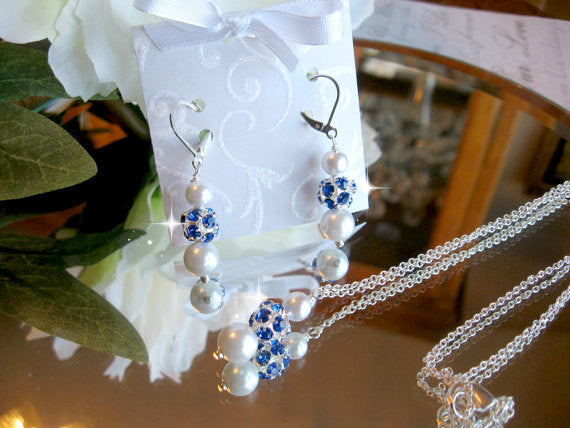 Personalized Bridesmaid Jewelry/Blue Sapphire Rhinestone and Pearl Necklace and Earring Set - Wedding Jewelry for the Bride or Bridesmaids SR004
