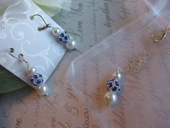 Personalized Bridesmaid Jewelry/Blue Sapphire Rhinestone and Pearl Necklace and Earring Set - Wedding Jewelry for the Bride or Bridesmaids SR004 - dream dress