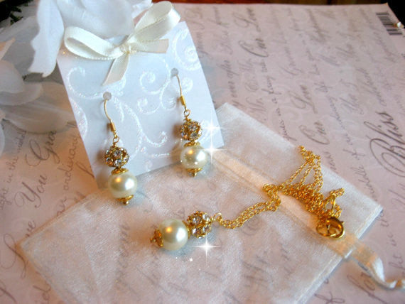 Rhinestone and Pearl Gold Filled Necklace and Earring Set - Personalized Bride or Bridesmaid Jewelry - Wedding Jewelry SR006