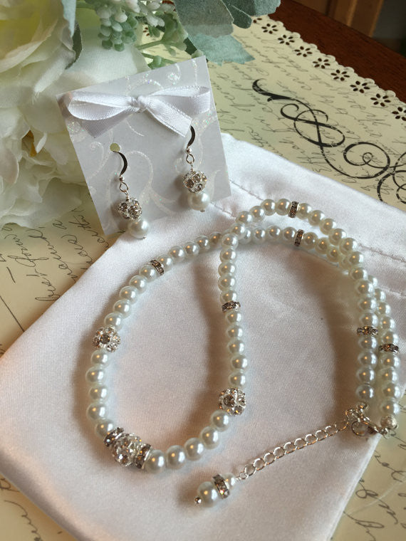 Pearl Jewelry Set - Pearl and Rhinestone Necklace and Earring Set - Wedding Jewelry for the Bride or Bridesmaids SR0012 - dream dress