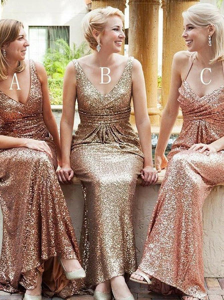 SEQUINS BRIDESMAID DRESSES LONG PROM DRSESS BRIDESMAID DRESSES ,PD1504 - dream dress