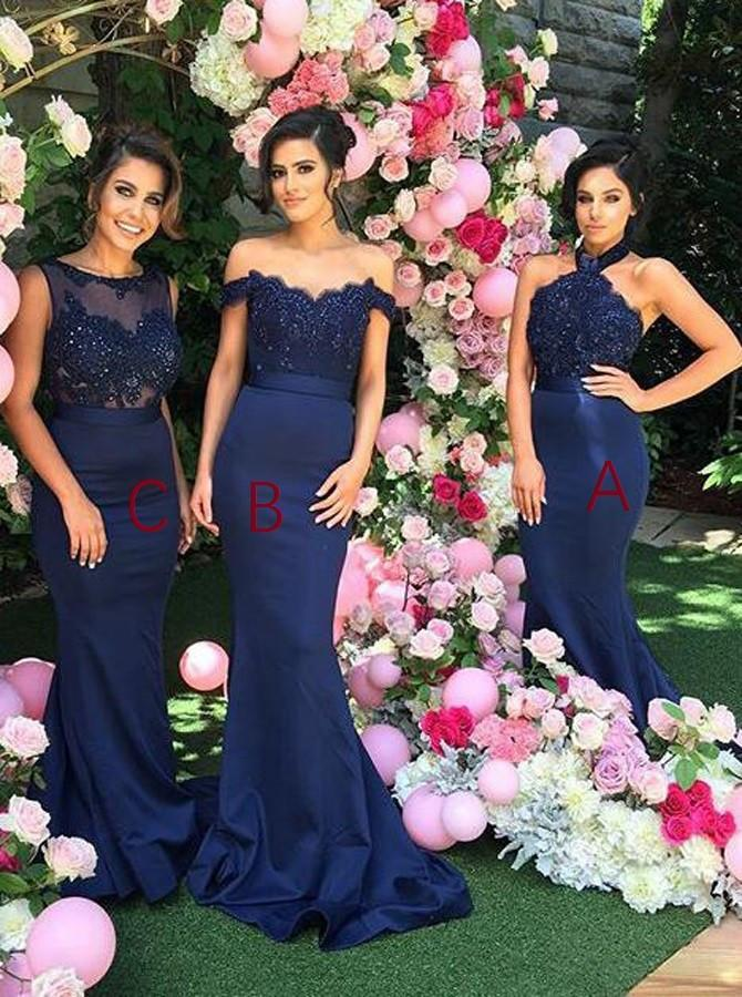 TRUMPET/MERMAID BRIDESMAID DRESSES SATIN LONG BRIDESMAID DRESSES,PD1523 - dream dress
