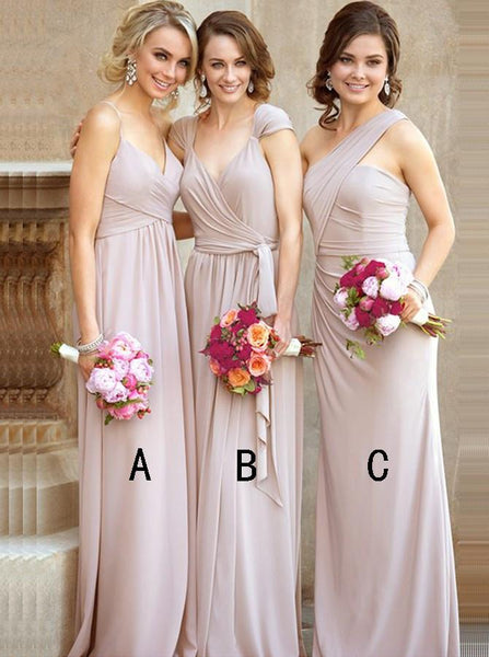 A-LINE BRIDESMAID DRESSES CHIFFON LONG BRIDESMAID DRESSES WITH RUFFLES,PD1506 - dream dress
