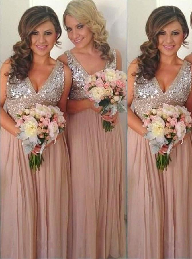 ELEGANT A-LINE BRIDESMAID DRESSES CHIFFON LONG BRIDESMAID DRESSES,PD1515 - dream dress