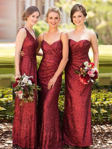 SHEATH/COLUMN BRIDESMAID DRESSES V-NECK LONG SEQUINS BRIDESMAID DRESSES,PD1509 - dream dress