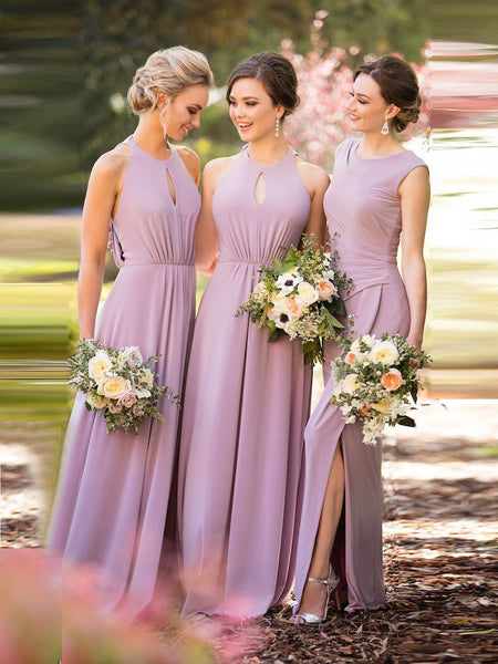 A-LINE BRIDESMAID DRESSES SCOOP CHIFFON LONG BRIDESMAID DRESSES,PD1503 - dream dress