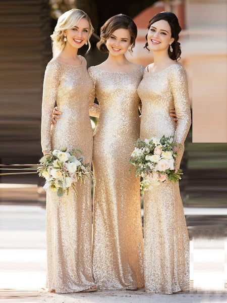 SHEATH/COLUMN BRIDESMAID DRESSES BATEAU LONG BRIDESMAID DRESSES,PD1501 - dream dress