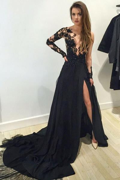 black prom Dress,long sleeves Prom Dresses,lace Evening Dress,side slit prom dress,evening dress 2017,BD2639 - dream dress
