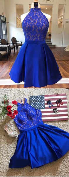 Cute blue lace short prom dresses, homecoming dresses,PD24005