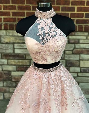 2018 two pieces lace long prom dresses, lace evening dresses,PD04001