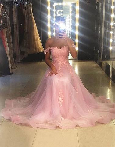 Pink sweetheart neck lace long prom dress, lace evening dress,BD2802 - dream dress