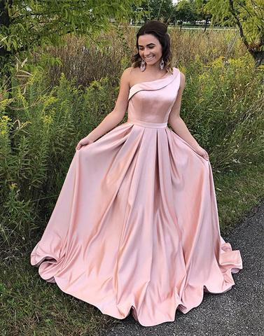 2018 Pink satin one shoulder long prom dresses, pink evening dress,PD1909