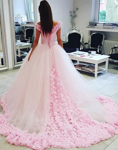 2018 Unique pink tulle long prom dress,Wedding Dresses,PD1904