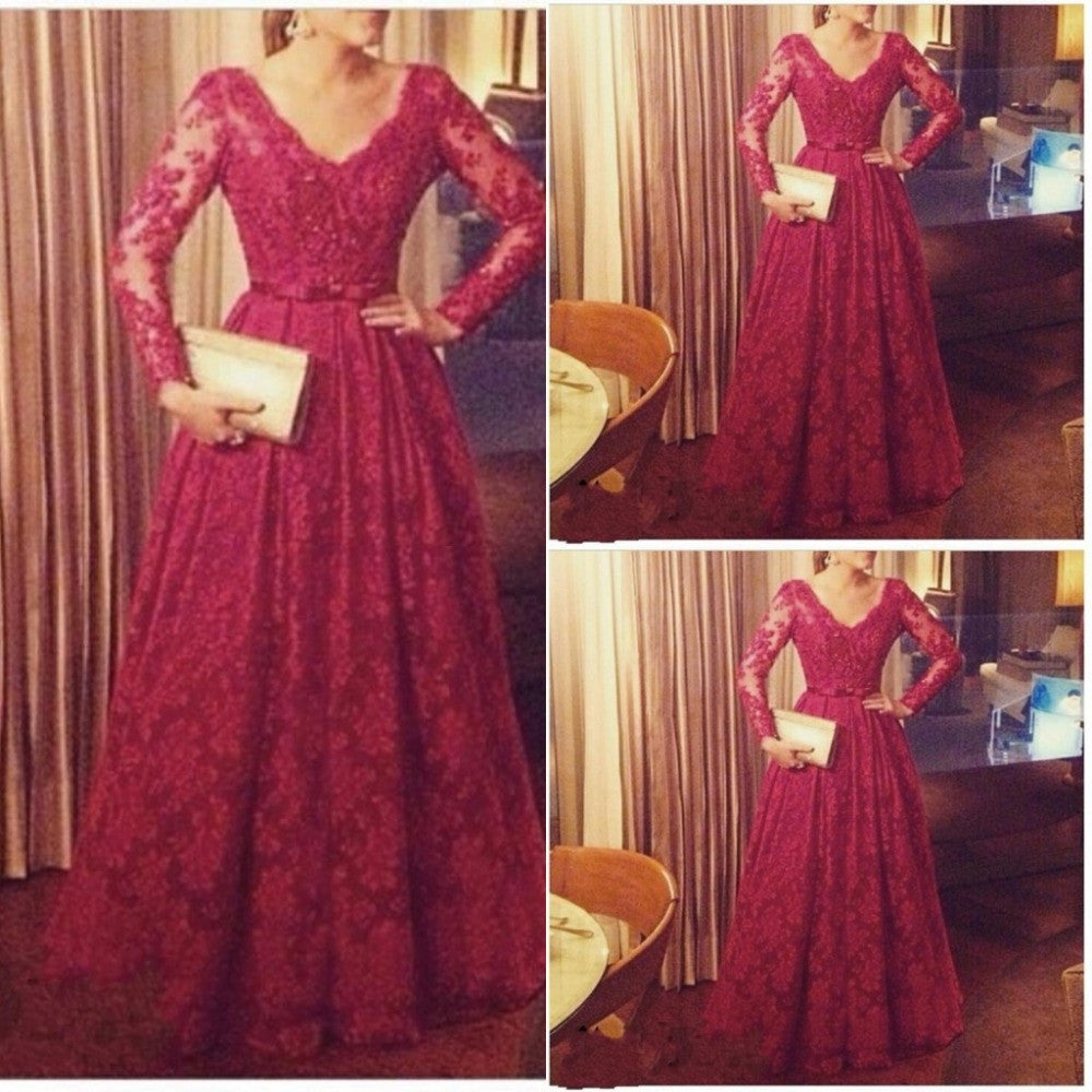 red prom Dress,A-line Prom Dress,long sleeves prom dress,lace evening dress,long prom gown,BD3016 - dream dress