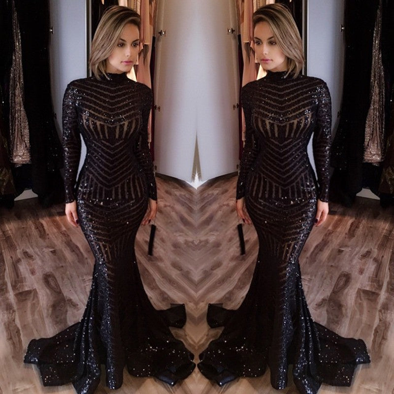 Sequined Mermaid Black Long Evenoing Dresses Sleeves High Neck Sexy Prom Dress,PD0801 - dream dress