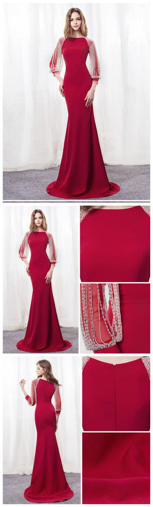 Simple Prom Dresses,Red Prom Gown,Vintage Prom Gowns,Elegant Evening Dress