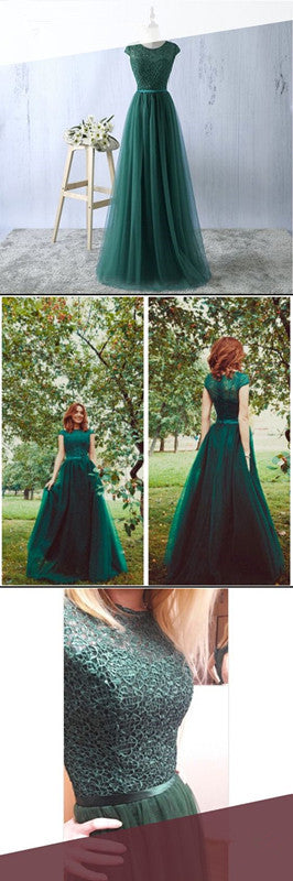 Elegant Appliques Tulle Prom Dress, Formal Long Evening Dress