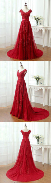 Sexy Red Prom Dress, Tulle Appliques Prom Dresses, Formal Long Evening Dress