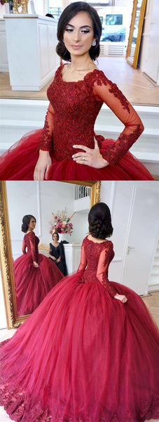 Sexy Burgundy Tulle Ball Gown Wedding Dress, Long Sleeve Appliques Wedding Gown, Bridal Dress